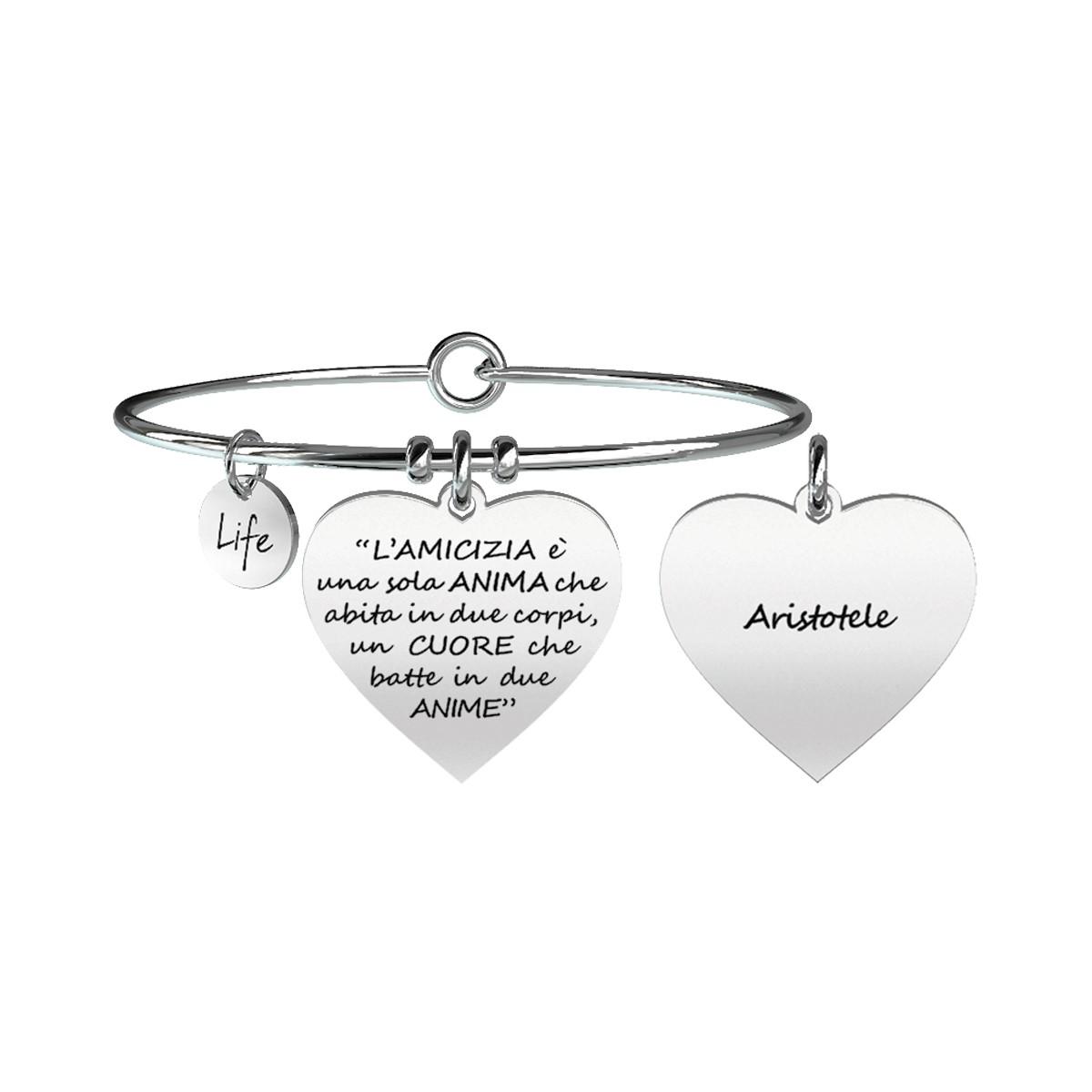 Bracciale con Cuore e Frase di Aristotele sull'amicizia Kidult Love