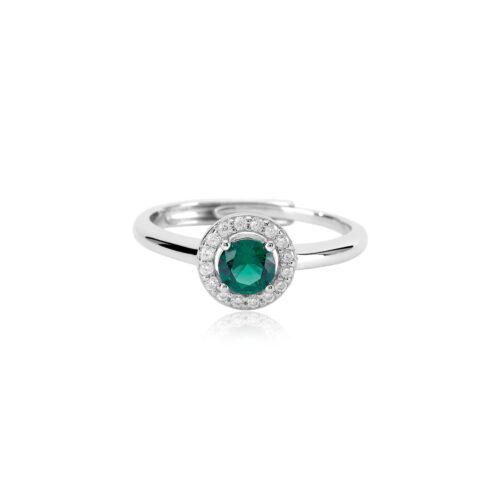 Anello Mabina in argento, smeraldo sintetico e zirconi