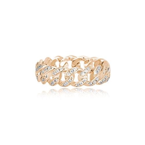 Anello Mabina argento dorato grumetta con zirconi