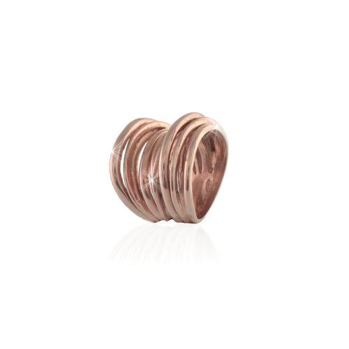 Anello con fili intrecciati in argento rosé UNOAERRE