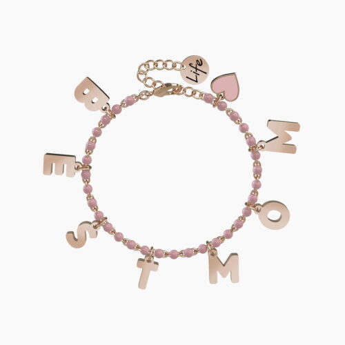 Bracciale Kidult BEST MOM in acciaio rosato e palline rosa