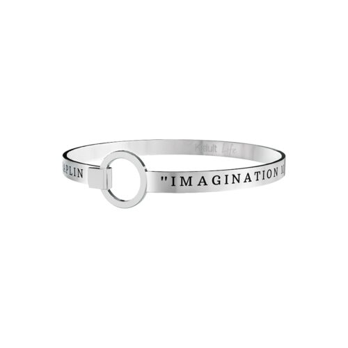 Bracciale con frase Imagination means nothing without doing. Charlie Chaplin