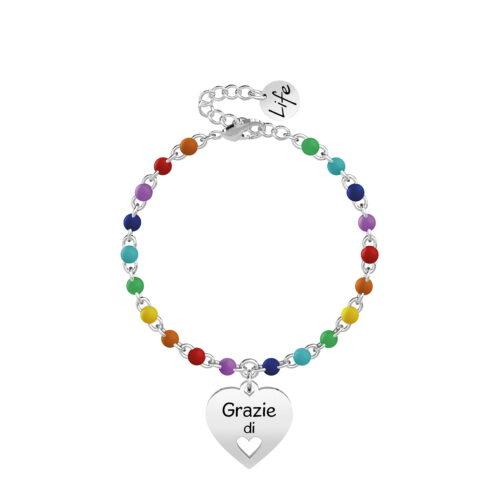 Bracciale Kidult Grazie di Cuore Multicolore
