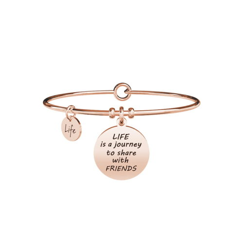 Bracciale con frase Life is a Journey Kidult Rose Gold