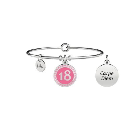 Bracciale 18 Compleanno Carpe Diem Anni Smalto Rosa Zirconi