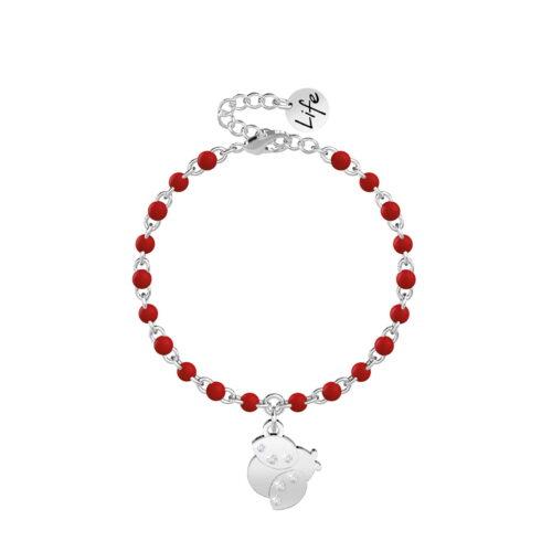 Bracciale Kidult rosso con Coccinella