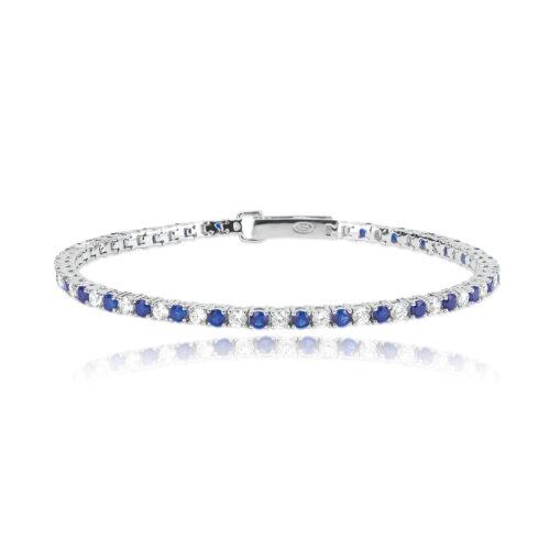 Bracciale in argento 925 con zirconi e zaffiro blu Mabina