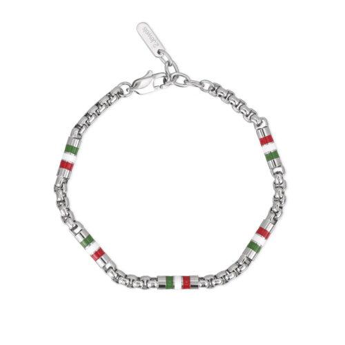 Bracciale Smalto Rosso Bianco Verde Italia Acciaio Uomo