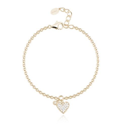 Bracciale Mabina con cuore in argento dorato e zirconi