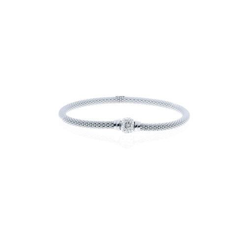 Bracciale con pallina centrale con cristalli in argento bianco UNOAERRE