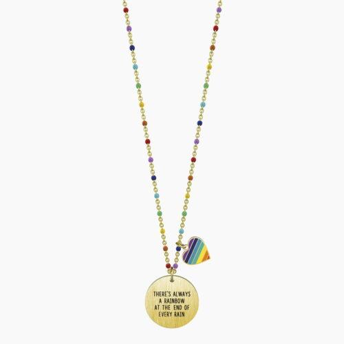 Collana Kidult dorato con frase arcobaleno