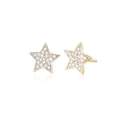 Orecchini Mabina in argento dorato a forma di stella con zirconi