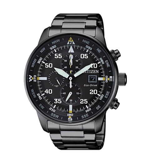 Orologio Citizen Crono Aviator Acciaio Nero Eco Drive CA0695-84E