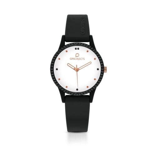 Orologio Ops Object Nero e Bianco Rosé