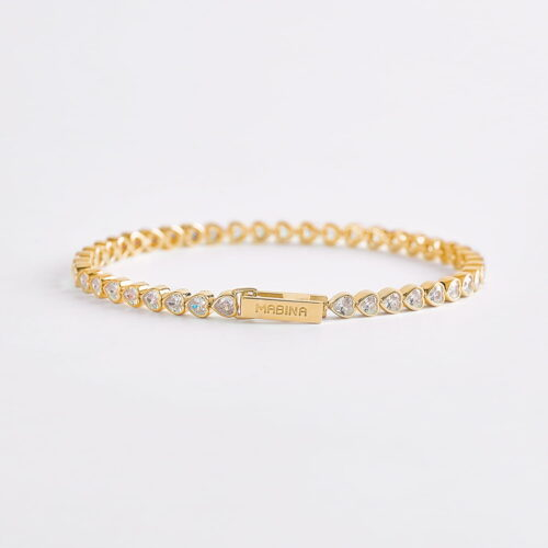 Bracciale Mabina tennis cuori in argento dorato