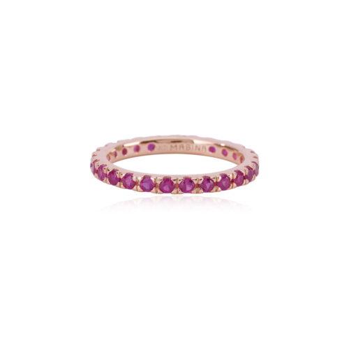 Anello veretta Mabina in argento rosato e rubini sintetici